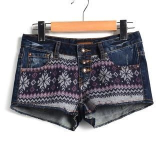 9mg - Snowflake-Pattern Knit-Panel Denim Shorts