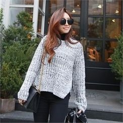 PIPPIN - Crew-Neck Slit-Side Chunky-Knit Sweater