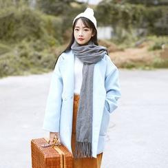 Sens Collection - 纯色平驳领长款大衣