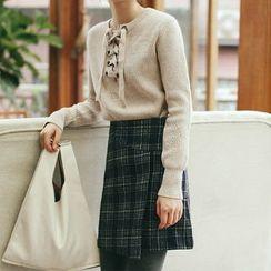 Porta - Plaid A-line Skirt