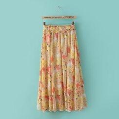 JVL - Elastic-Waist Printed Chiffon Maxi Skirt