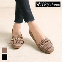 Wifky - Chain-Trim Fringed Faux-Suede Flats