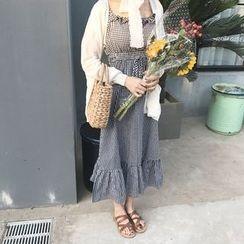 YUKISHU - Plaid Frill Trim Sleeveless Midi Dress