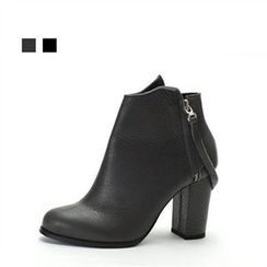 MODELSIS - Genuine Leather Hidden-Zip Ankle Boots