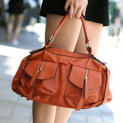 SO Central - Zip Detail Faux Leather Satchel