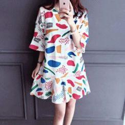 DAILY LOOK - Drop-Waist Printed Dress