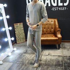 Kashen - Set: Fleece Lined V-Neck Long-Sleeve T-Shirt + Pants