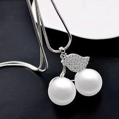 Bling Thing - Rhinestone Faux Pearl Cherry Pendant Long Necklace