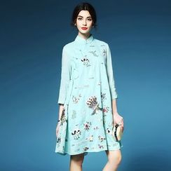Elabo - Embroidered Loose Fit Cheongsam