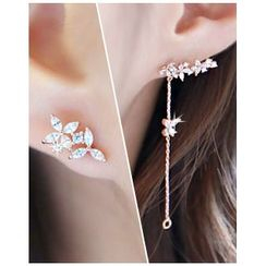 Miss21 Korea - Rhinestone Asymmetric Drop Earrings