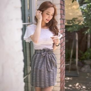 ERANZI - Patterned Tie-Waist Skirt