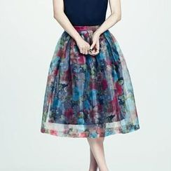 HStyle - Flower-Print Pleated Long Skirt