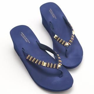 FM Shoes - Studded Beaded Wedge Flip-Flops