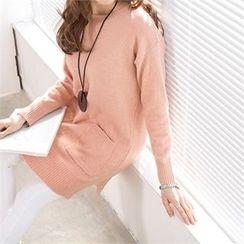 PEPER - Drop-Shoulder Pocket-Front Knit Top