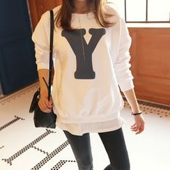DANI LOVE - Letter Print Cotton Sweatshirt