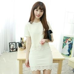 Dodostyle - Set: Lace-Trim Top + Band-Waist Skirt