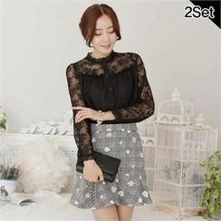 SUVINSHOP - Set: Lace-Yoke Blouse + Floral Print Check Skirt