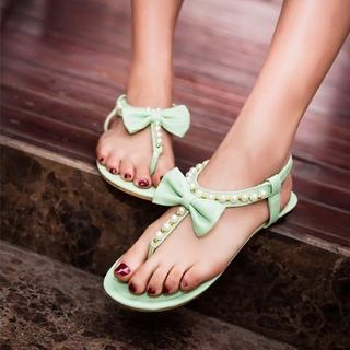 JY Shoes - Bow Accent Faux Pearl Thong Sandals