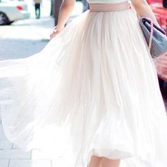 chuu - Elasticized Tulle Maxi Skirt