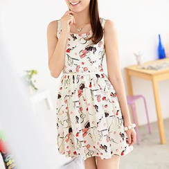 59 Seconds - Printed Sleeveless Dress with Belt