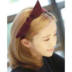 Miss21 Korea - Bow Wide Velvet Hair Band