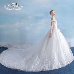 MSSBridal - Maternity Off-shoulder Long Train Wedding Ball Gown