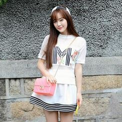 MisSweet - Set: Mesh-Panel Top + Striped-Trim Skirt