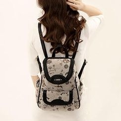 Axixi - Contrast-Trim Patterned Canvas Backpack