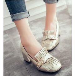 Freesia - Fringed Chunky Heel Loafers
