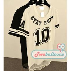 JVL - 'Stay Real' Printed Illusion Hem T-Shirt