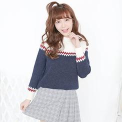 舒然衣社 - 曲折纹图案毛衣