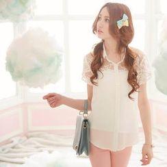 Tokyo Fashion - Short-Sleeved Lace Yoke Chiffon Blouse
