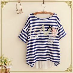 Fairyland - Applique Striped T-Shirt