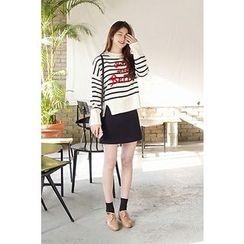CHERRYKOKO - Drop-Shoulder Lettering Stripe Sweater