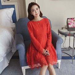 Ceres - Maternity Long-Sleeve A-Line Lace Dress