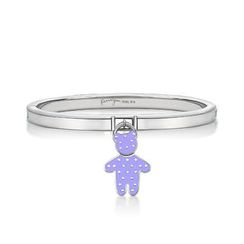 Kenny & co. - Purple Dot Pattern Bear Charm With Steel Bangle
