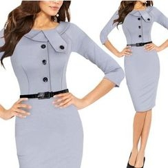 Forest Of Darama - Buttoned Sheath Dress with Belt