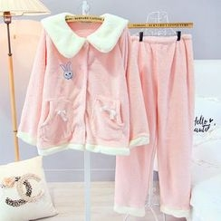 Snorie - Pajama Set: Rabbit Embroidered Long Sleeve Top + Pants