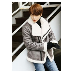 HOTBOOM - Diagonal-Zip Faux-Shearling Jacket