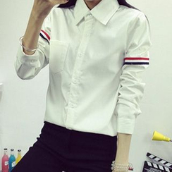 lilygirl - Fleece-Lined Striped Shirt