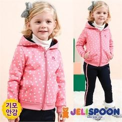 JELISPOON - Girls Set: Dotted Brushed-Fleece Lined Hoodie + Sweatpants