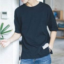 V37 - Elbow-Sleeve Plain T-Shirt