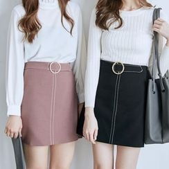 BAIMOMO - Belted A-Line Skirt