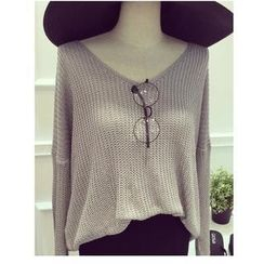 MATO - Long-Sleeve V-Neck Knit Top