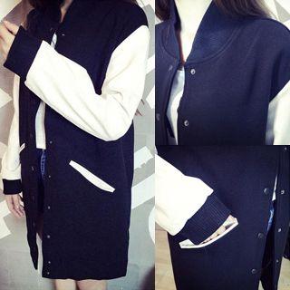 QZ Lady - Contrast-Sleeve Long Baseball Jacket