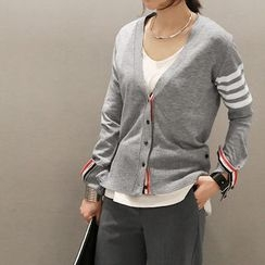 NANING9 - V-Neck Striped-Sleeve Cardigan
