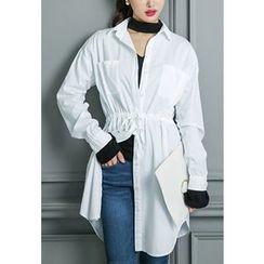 REDOPIN - Drawstring-Waist Cotton Shirt