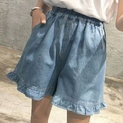 Dute - Ruffle Trim Denim Shorts