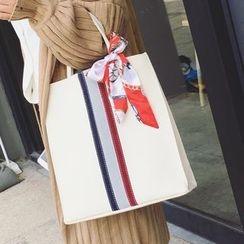 ICE ELF - 套裝: 條紋手提袋 + 零錢包