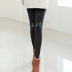 Cybele - Maternity Cat Embroidered Fleece-Lined Leggings